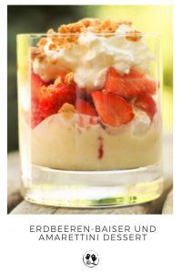 Erdbeer Baiser und Amarettini Dessert