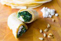 Pfannkuchen mit Spinat und Feta
