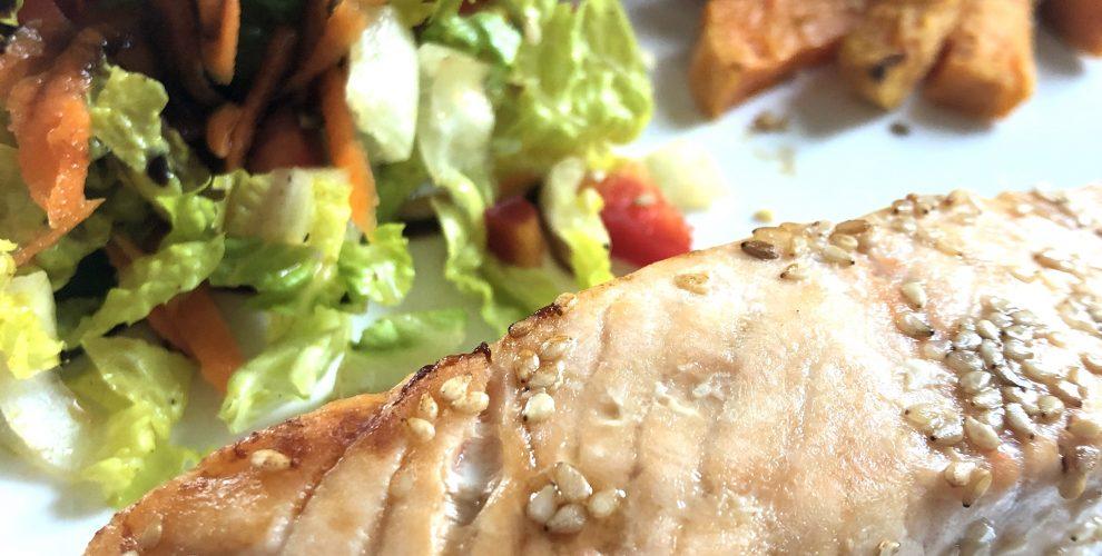 Sesam Lachs mit Süßkartoffeln